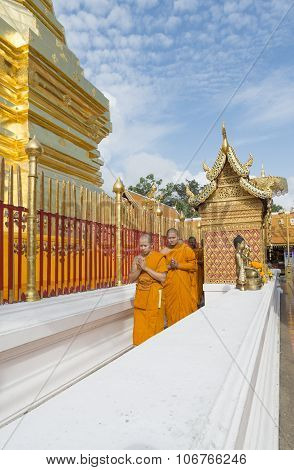 CHIANG MAI, THAILAND - NOVEMBER :Thai people are praying for a religious ceremony in thai temple dur