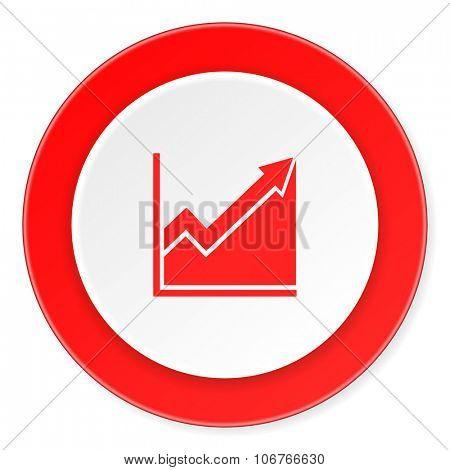 histogram red circle 3d modern design flat icon on white background