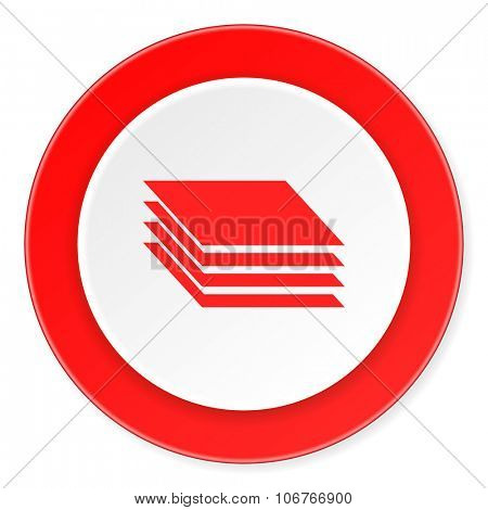 layers red circle 3d modern design flat icon on white background