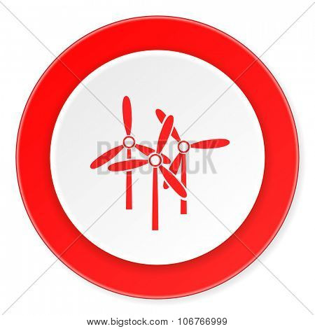 windmill red circle 3d modern design flat icon on white background