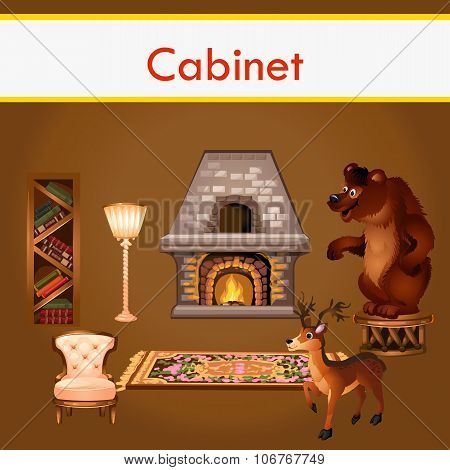 Cabinet with books, fireplace and stuffed animals
