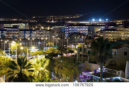 View Of The City At Night With Palm Trees