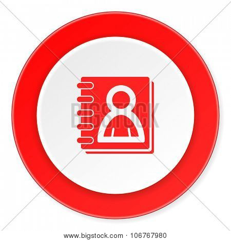 address book red circle 3d modern design flat icon on white background