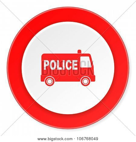 police red circle 3d modern design flat icon on white background