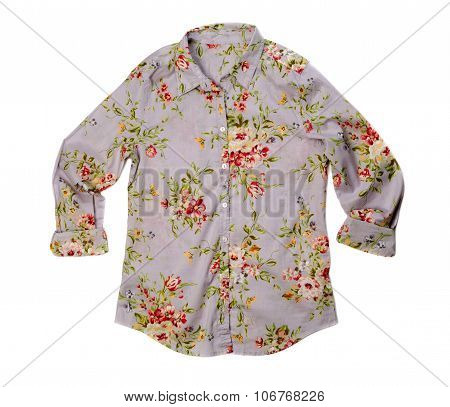 Gray Shirt With A Flower Pattern