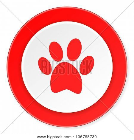 foot red circle 3d modern design flat icon on white background