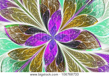 Multicolored Fractal Flower Or Butterfly In Stained-glass Window Style On Light. Computer Generated