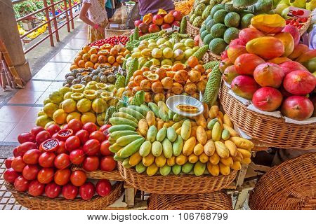 Market Booth With Exotic Fruits, Funchal, Madeira