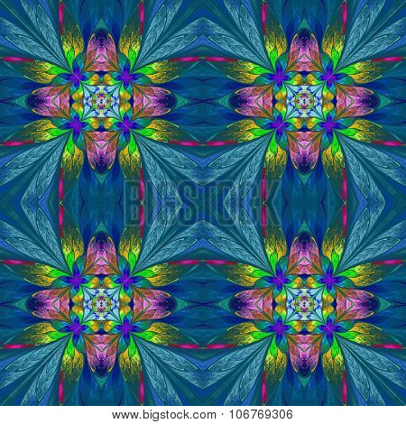 Symmetrical Multicolored Flower Pattern In Stained-glass Window Style On Blue Backgrownd.  Computer