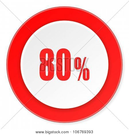 80 percent red circle 3d modern design flat icon on white background
