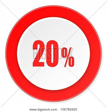 20 percent red circle 3d modern design flat icon on white background