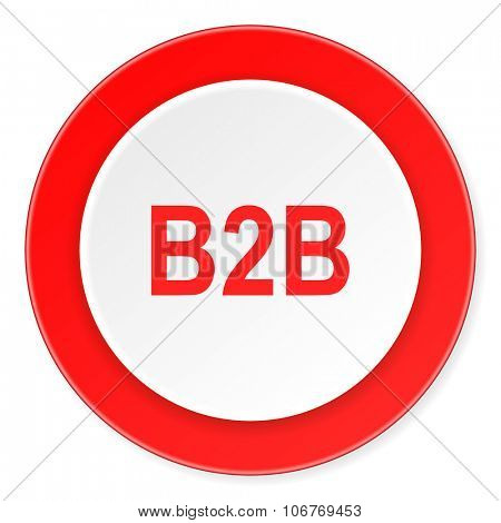 b2b red circle 3d modern design flat icon on white background