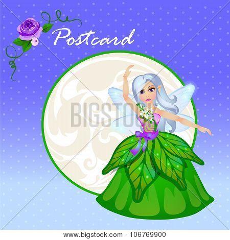 Cute doll forest elf in green dress