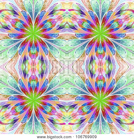 Multicolored Symmetrical Pattern In Stained-glass Window Style. Computer Generated Graphics.