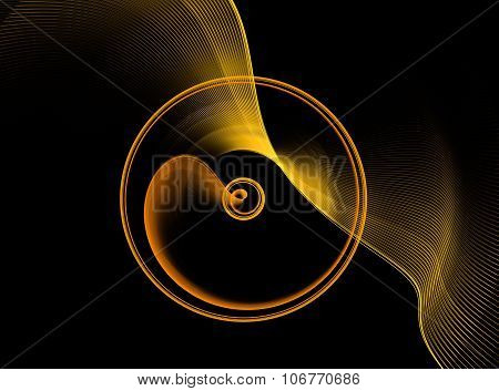 Gold abstract fractal shape with black background