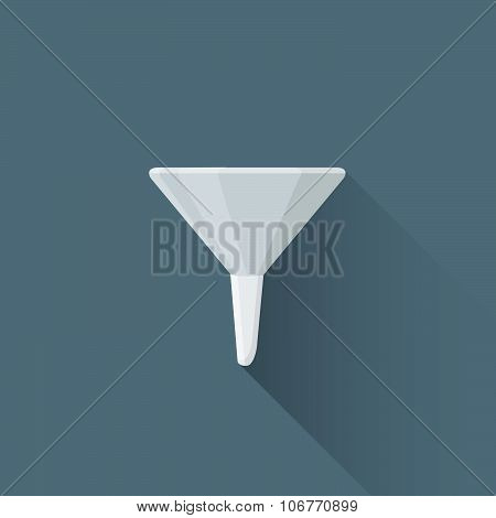 Vector Flat Metal Funnel Illustration Icon.