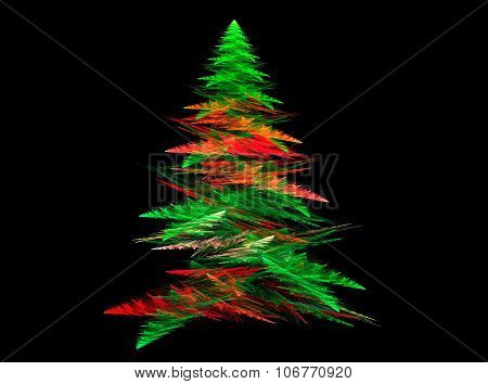 Abstract fractal Christmas tree with black backgound