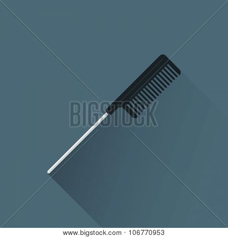 Vector Flat Hairdresser Styling Comb Illustration Icon.