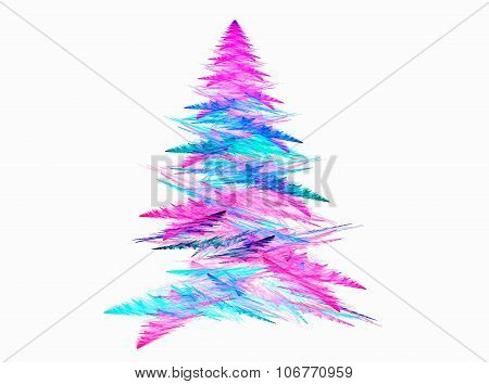 Abstract fractal Christmas tree with white backgound