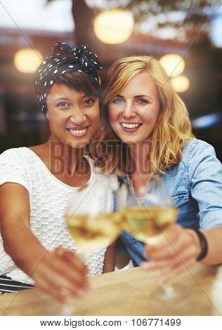 Fun Friends Celebrating With White Wine