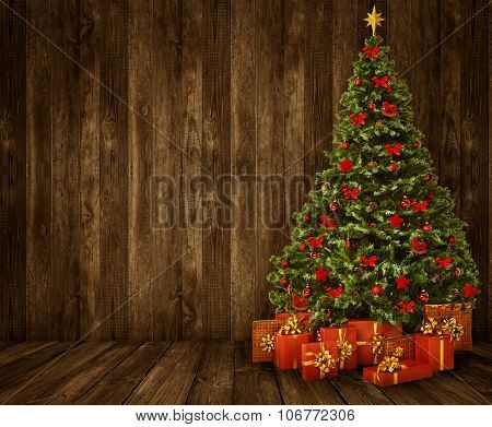 Christmas Tree Room Background, Wood Wall Floor Interior, Wooden Planks