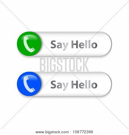 Phone Sign On Metallic Slider With Say Hello Words