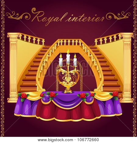 Golden staircase and table with candlestick