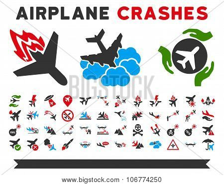 Airplane Crashes Vector Icons