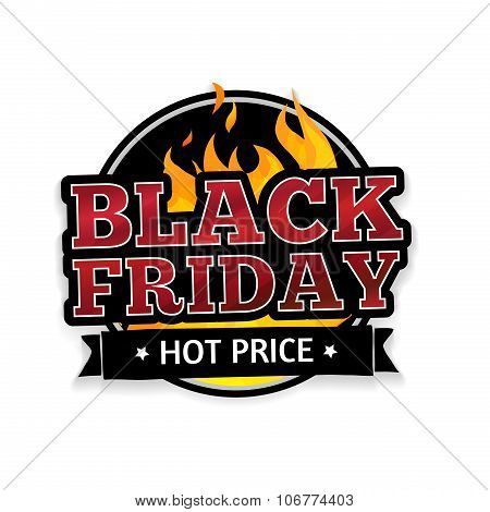 Round retro logo, icon, label, sticker for Black Friday. The pattern of the fire. Vector