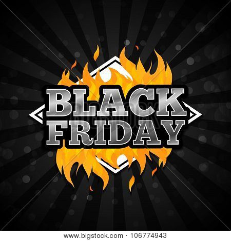 Triangular retro logo, icon, label, sticker for Black Friday. The pattern of the fire on a black bac