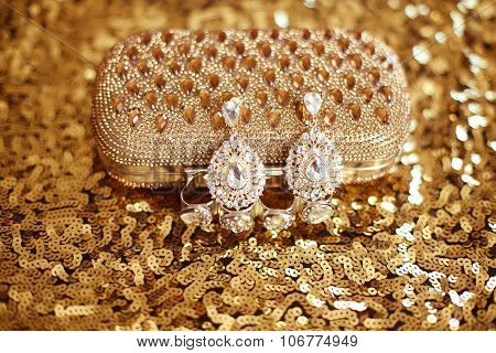 Precious Gem Fashion Earring With Diamonds Gems With Shiny Crystal Purse On Sequins Sparkling Sequin