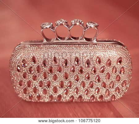 Beauty Fashion Purse With Strass And Gems Beaded Isoalted On Pink Background. Womens Accessory