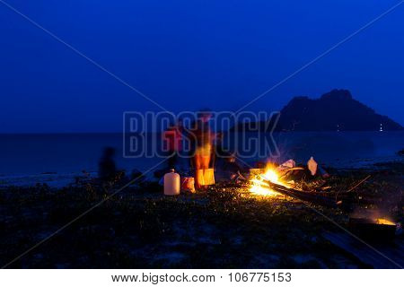 Campfire In Night On The Beach During The Summer