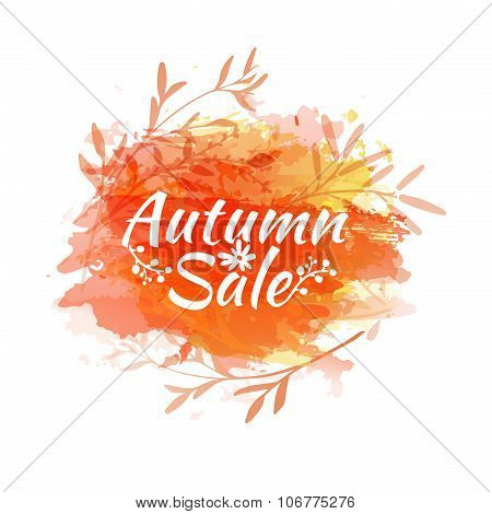 Template design of logo, stamp silhouette autumn sale. Watercolor orange texture. Vector.