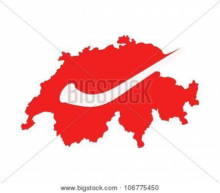 Alphorn On Swiss Map