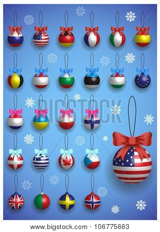 Christmas Decoration Set With Different International Flags. Christmas Realistic Colorful Balls Hang