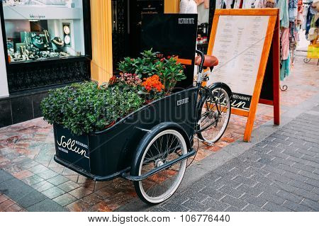 Decorative Vintage Model Of Old Bicycle Equipped With Basket Of