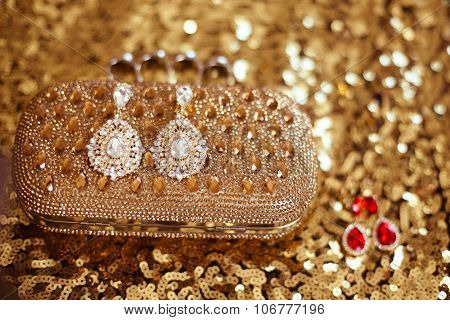 Diamond Fashion Earrings On Golden Purse With Strass And Gems. Sequins Sparkling Sequined Textile