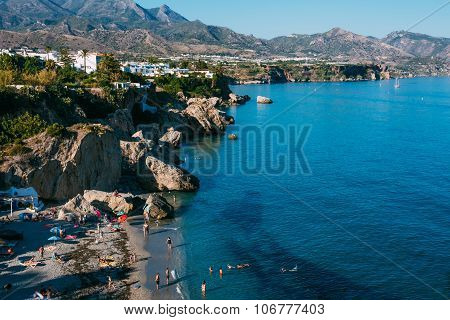Resort town of Nerja in Spain. View from Balcon de Europa.