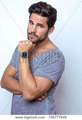 young man with wrist watch