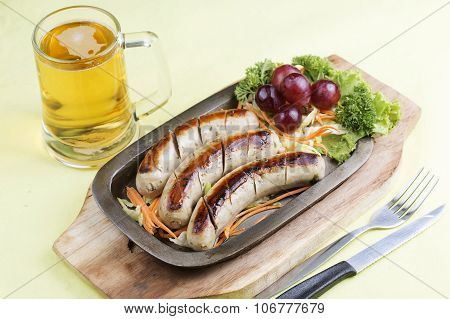 Grill Sausage With Glass Of Beer