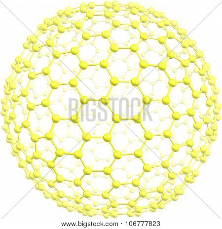 Giant fullerene C500 isolated on white background. 3d illustration