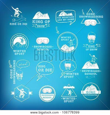 Snowboarding, winter sport icon set.