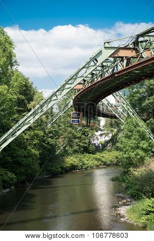 Schwebebahn In Wuppertal Above The River Wupper