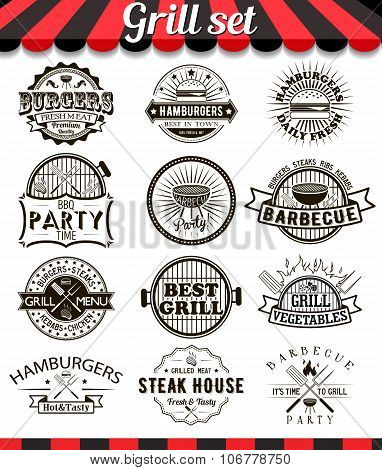 Grill Vintage Design Elements And Badges Set