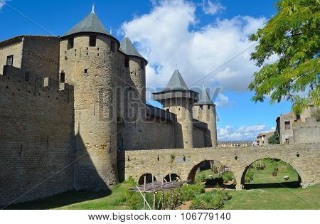 Inner walls towers and bridge of the site at Carcassonne.