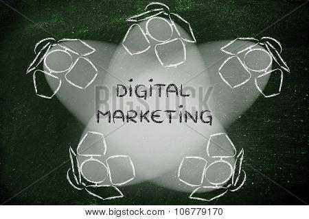 Spotlights With Text Digital Marketing