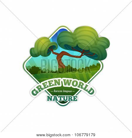 Lozenge logo, sign, badge with nature, landscape, trees. Cartoon style. Vector. Place for your text.