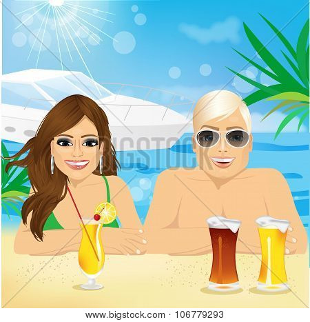 young happy couple enjoying beach holiday
