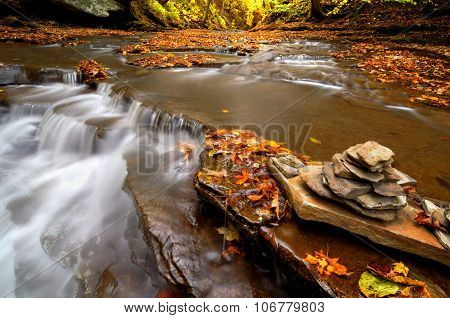Autumn Waterfall Cairn